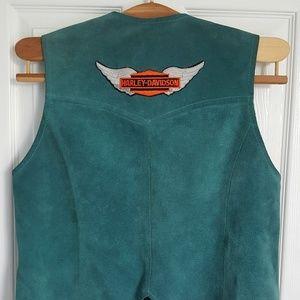 Harley-Davidson Vintage Teal Leather Vest